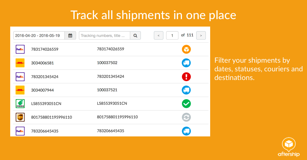 aftership tracking delivery updates
