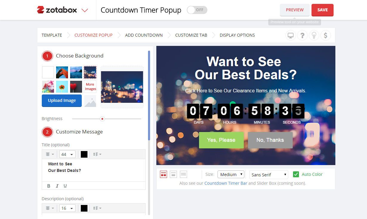 Countdown Timer Popup